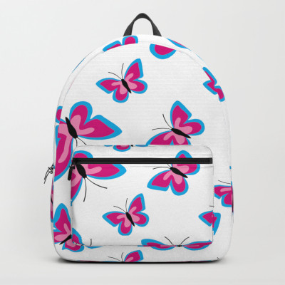 Blue Pink Butterfly Pattern White Backpack