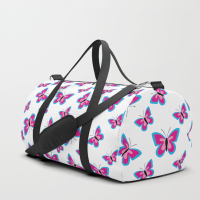 Blue Pink Butterfly Pattern White Duffle Bag