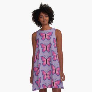 Violet Magenta Pink Butterfly Dress