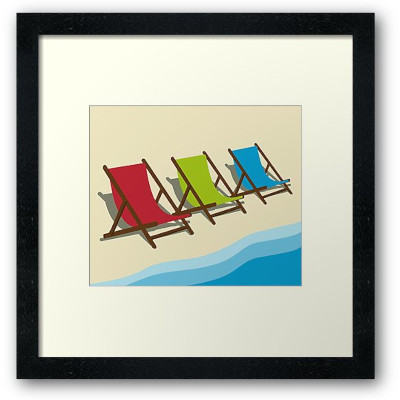 Deck Chairs On the Beach Framed Print