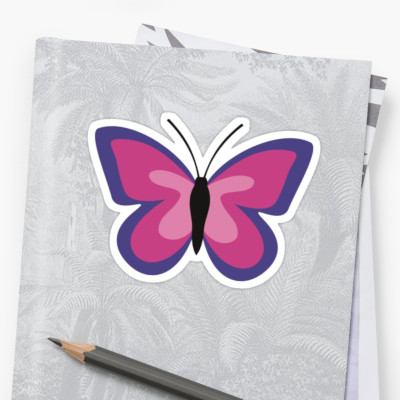 Pink Violet Butterfly Sticker