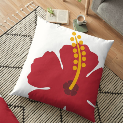 Red Hibiscus Flower Throw and Floor Pillow