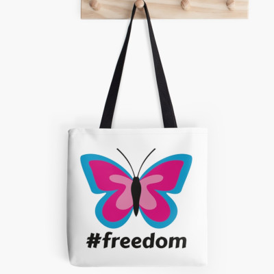 Blue Pink Butterfly #Freedom Tote Bag