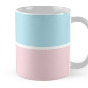 Pastel Pink Blue Horizontal Stripes Mug