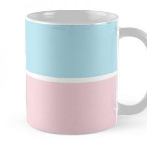 Pastel Pink Blue Horizontal Stripes Mug