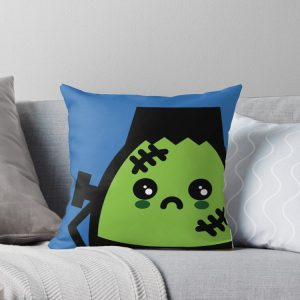 Creepy Egg Frankenstein Throw Pillow