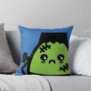 Creepy Egg Frankenstein Throw Pillow