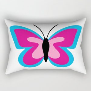 Blue Pink Butterfly – White Rectangular Pillow