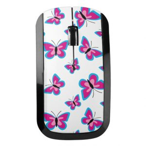 Blue Pink Butterfly Pattern Wireless Mouse