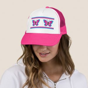 Blue Pink Butterfly Trucker Hat
