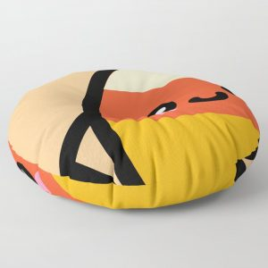 Creepy Egg Candy Corn Round Floor Pillow