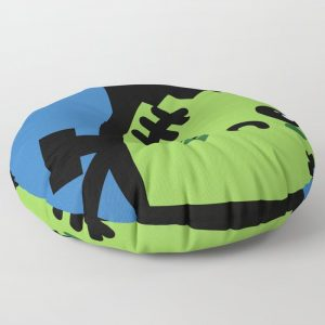 Creepy Egg Frankenstein Round Floor Pillow