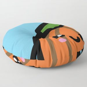 Creepy Egg Pumpkin Round Floor Pillow