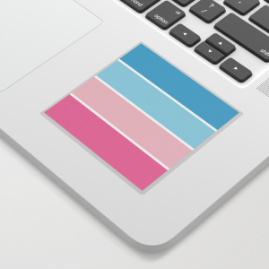 Pastel Pink Blue Horizontal Stripes Sticker