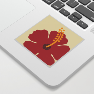 Red Hibiscus Flower Sticker