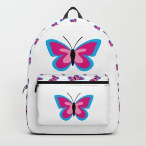 Blue Pink Butterfly – White Backpack