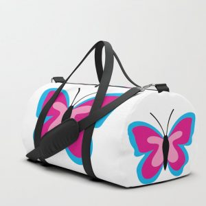 Blue Pink Butterfly – White Duffle Bag