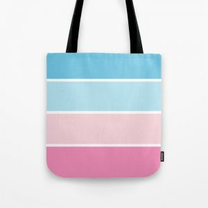 Pastel Pink Blue Stripes Tote Bag