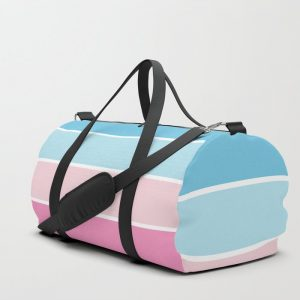 Pastel Pink Blue Stripes Duffle Bag