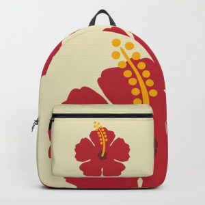 Red Hibiscus Flower Backpack
