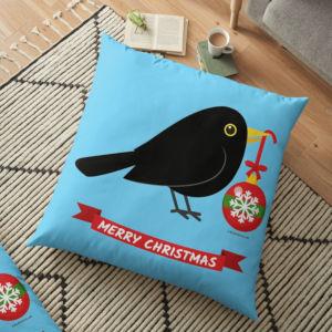 Redbubble Floor Pillow - Blackbird Christmas Ball